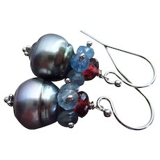 14K-Tahitian Pearls-Santa Maria Aquamarine-Pyrope Garnet-Blue Topaz-Solid 14k White Gold Dangle Earrings