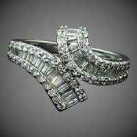 Vintage-1.28ct Diamond-14k White Gold Bypass Anniversary Ring-Baguette Brilliant Diamond-Size 7.25