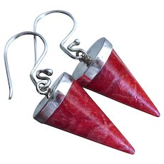 Sponge Coral Cones Spikes-Sterling Silver Contemporary Dangle Earrings