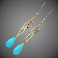 Genuine Sleeping Beauty Turquoise-14k Solid Gold Long Dangle Earrings