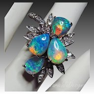 18k Opal Diamond Vintage White Gold Statement-October Birthstone Ring-US Size 6.5