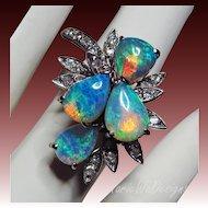 18k Opal Diamond Vintage White Gold Statement-October Birthstone Ring-US Size 6.5