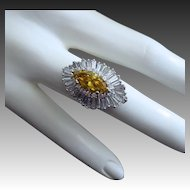 Convertible-7.17ctw-Heavy Platinum-2.17ct Yellow Diamond-Baguette Coctail Ring-Pendant-US Size 7