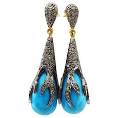 Opulent 3.15ct Pave Diamond-Tibetan Turquoise-Black Rhodium-Sterling Silver-Vermeil Post Earrings-One Of A Kind