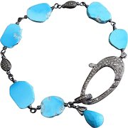 Genuine Sleeping Beauty Turquoise-Pave Diamond Focal Clasp-Oxidized Sterling Silver Bracelet with Charm