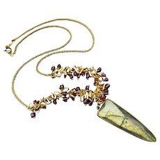 Flashy Labradorite-Garnet-Charm Fringe 18k Gold Vermeil-GP- Geometric Spear Pendant Necklace