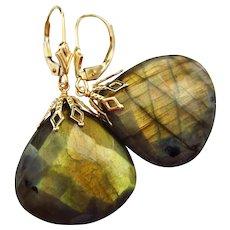 36ct Fire Labradorite-14k Solid Gold-Bold Dangle Earrings