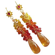 Rare Imperial Topaz-Multi Paparadscha Sapphire-Ruby-18k 14k Solid Gold One Of A Kind-Cascade Long Dangle Earrings