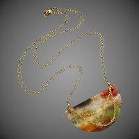 Picturesque Feldspar-Half Moon-Multi Hued Natural Stone-Gold Fill Adjustable Necklace