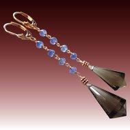 Tanzanite-Gem Smoky Smokey Chandelier Briolette Quartz-14k Solid Rose Gold Long Dangle Earrings