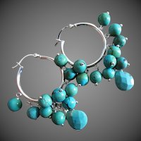 Natural Turquoise-Sterling Silver-Hoops Chandelier Earrings