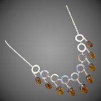 Exceptional Unique Cognac Quartz Multi Briolette-Fresh Water Pearls-Sterling Silver Hoops-Contemporary Adjustable Necklace