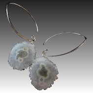 Solar Crystal Quartz Stalactite-Sterling Silver Marquise Hoop Organic Earrings