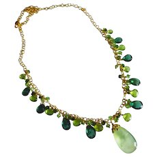 Green Gems-Chrome Diopside-Tsavorite-Green Apatite-Peridot-Prehnite Pendant-Gold Fill Charm Necklace