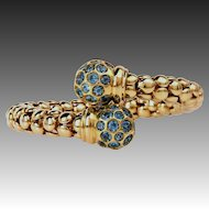 50.5g 18k Solid Gold-12ct Natural Blue Topaz-December Birthstone-Vintage Flexible Bangle