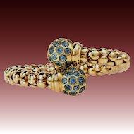 50.5g 18k Solid Gold-12ct Natural Blue Topaz-December Birthstone-Vintage Flexible Bangle