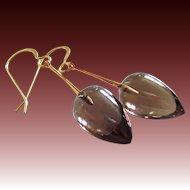 14k Gold-Gem Smoky Smokey Quartz Inverted Teardrops-14k Yellow Gold Dangle Earrings