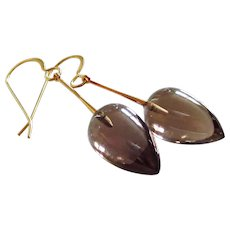 14k Gold-Gem Smoky Smokey Quartz Inverted Teardrops-14k Yellow Gold Dangle Earrings