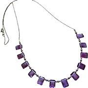 14K Emerald Cut Natural Amethyst Multi Briolette-14k Solid White Gold-February Birthstone Necklace