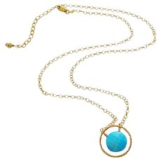 Tibetan Turquoise Pendant-24k Gold Vermeil Hoop-14k Gold Fill Adjustable Necklace