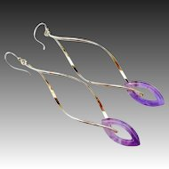 Natural Amethyst Marquise Hoops-Sterling Silver Contemporary Long Bold Dangle Earrings