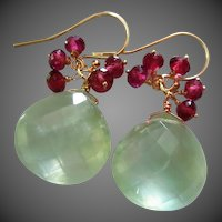 Prehnite-Garnet-14k Solid Gold Fringe Charm Dangle Earrings
