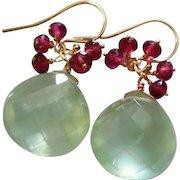 Prehnite-Garnet-14k Solid Gold Fringe Charm Dangle Earrings