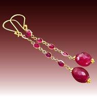 Regal-Natural Ruby-18k Solid Gold-Bezel-Long Dangle-July Birthstone-Red Carpet Earrings