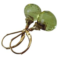 Phantom Oro Verde Quartz-14k Solid Gold Leverback-Green Gold Quartz Dangle Earrings
