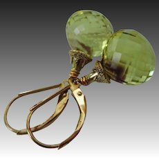 Phantom Oro Verde Quartz-14k Solid Gold Leverback-Green Gold Quartz Dangle Earrings