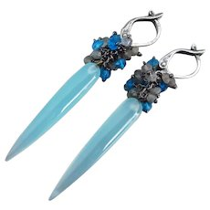 Slender Aqua Chalcedony-Labradorite-Swiss Blue Quartz-Oxidized Sterling Silver Leverback Dangle Cluster Earrings