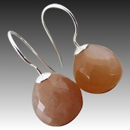 Natural 12mm Peach Moonstone-Sterling Silver-Minimalist Earrings