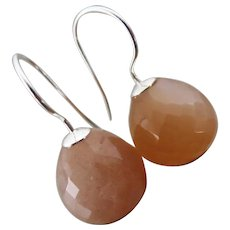 Natural 12mm Peach Moonstone-Sterling Silver-Minimalist Earrings