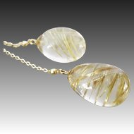 14K-Golden Rutilated Quartz-Venus Hair-14k Solid Gold Lariat Style Necklace