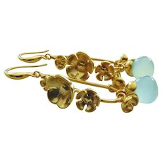Bloom-Aqua Chalcedony-Multi Blossom 18k Gold Plated- Articulating Charm Hoop Earrings