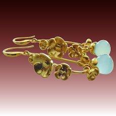 Bloom-Aqua Chalcedony-Multi Blossom 18k Gold Plated- Articulating Charm Hoop Earrings