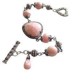 Natural Pink Opal-Pave Diamond-Bali Handmade Silver Toggle Bracelet with Charm