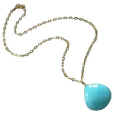 14k-Huge 28ct Blue Peruvian Opal Pendant-14k Gold Necklace-October Birthstone