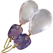 18K Madagascar Rose Pink Quartz-Amethyst Cushions-18k Solid Gold Earrings-One Of A Kind
