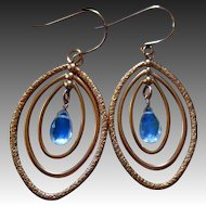 Rainbow Moonstone-Rose Gold Fill Marquise Hoops Mobile Gemstone Hoop Earrings
