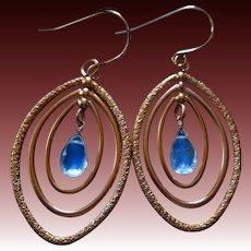 Rainbow Moonstone-Rose Gold Fill Marquise Hoops Mobile Gemstone Hoop Earrings