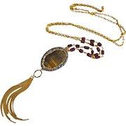 "32"" Tigereye-Garnet-Crystals-Tassel-One of a Kind-Contemporary Long Layering Tassel Gold Fill Necklace"