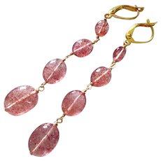 Gem Grade Natural Strawberry Quartz-Lepidocrosite in Quartz-27ct-4 Tier Long Dangle Gold Fill Leverback Earrings