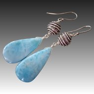 Seascape Larimar-Handmade Balinese Silver-Oxidized Silver-Dominican Stone-Bold Dangle Earrings
