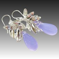 Lavender Lilac Chalcedony-Sterling Silver Petals-Fringe Dangle Earrings