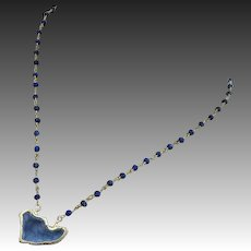 Stardust-Natural Blue Druzy Drusy Geode Pendant-Denim Blue Lapis Lazuli-Gold Vermeil Adjustable Necklace