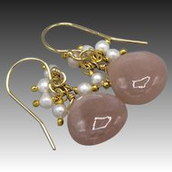 Peach Moonstone-Fresh Water Pearl Fringe-14k Gold Fill Dangle Earrings