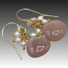 Peach Moonstone-Fresh Water Pearl Fringe-14k Gold Fill Dangle Earrings