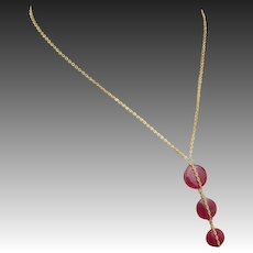 Natural Ruby-3 Tier July Birthstone-Gold Fill Adjustable Necklace