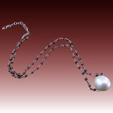 Huge 14mm FW Sliding Pearl-Garnet-Sterling Silver Adjustable Necklace